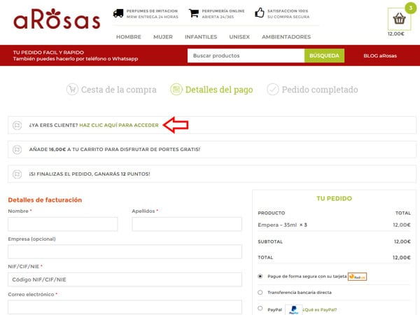 Acceso Cuenta Cliente aRosas Checkout